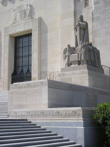The capitol's dramatic front entrance