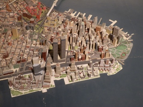 Lower Manhattan and the original World Trade Center. The Queens Museum of Art has chosen to keep the Twin Towers on the model until the new World Trade Center is completed, rather than leave a gaping hole.