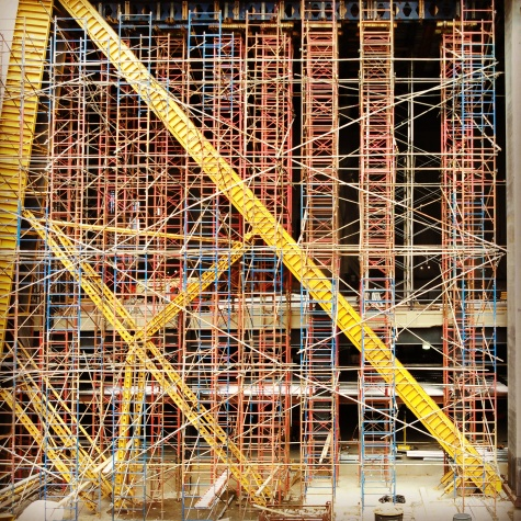 Construction sight: A forest of scaffolds at 10 Hudson Yards, which will be the first completed tower in the massive development.