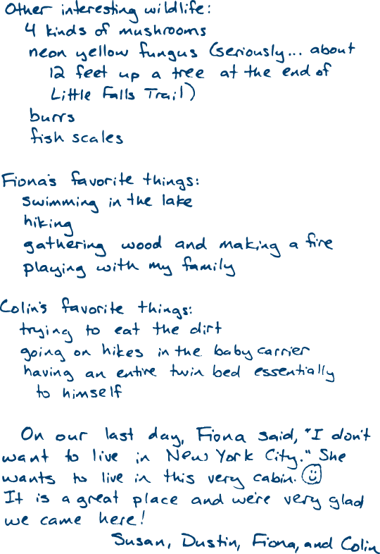 Our family's entry in the cabin guestbook at Promised Land State Park, 31 July 2014 (page 2)