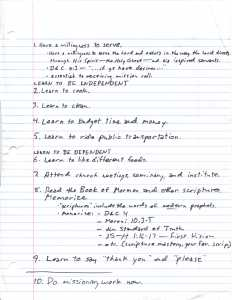 10 things to prepare to serve a mission (handwritten list)